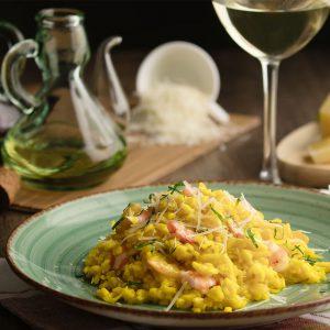 Saffron-risotto-fennel-shrimps-shallot