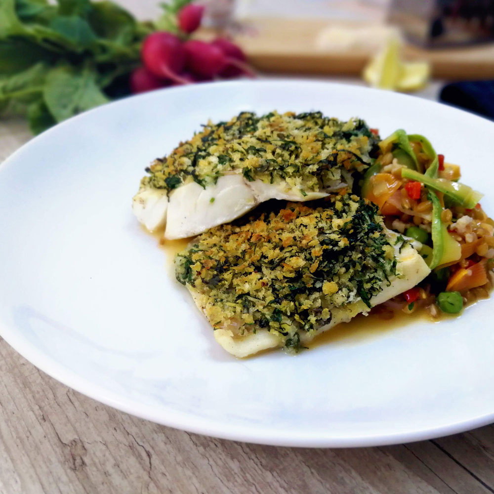 Codfish fillet with herb crust and einkorn risotto