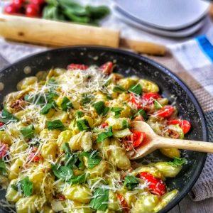 gnocchi-gorgonzola-sauce-sauteed-zucchini-dried-tomatoes-parmesan