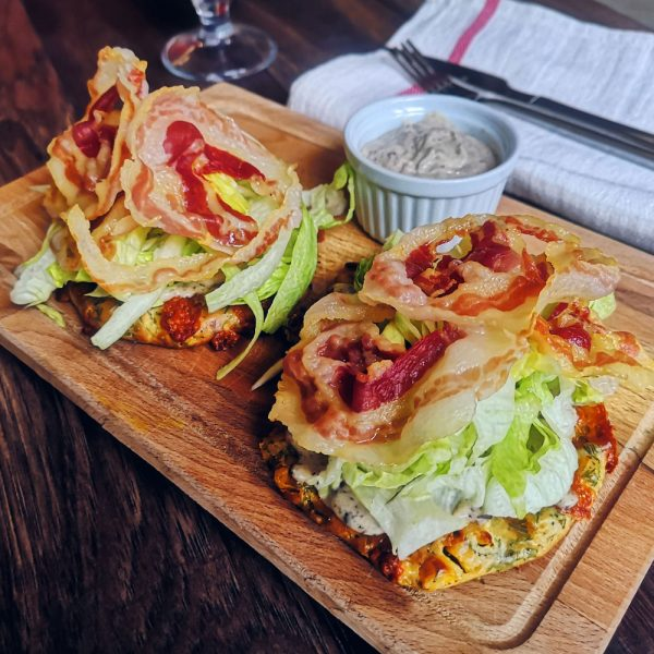 Corn tortillas with pancetta, iceberg and olive paste