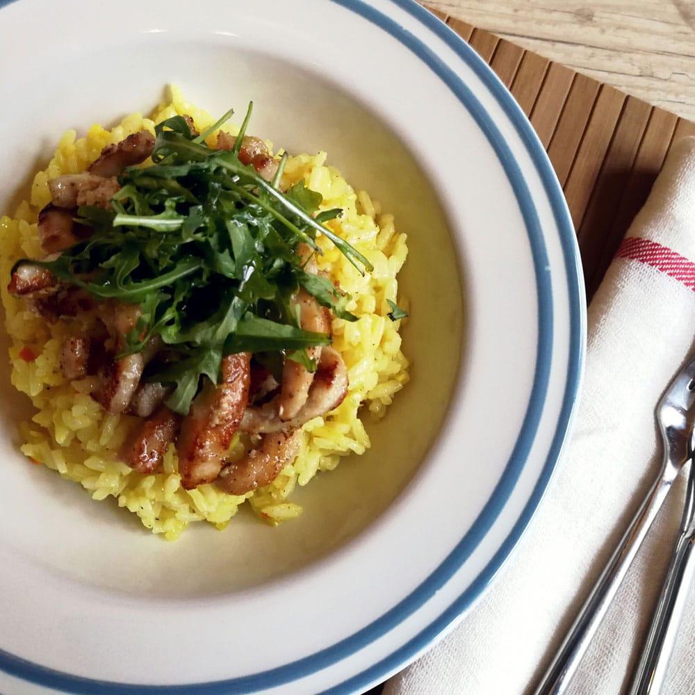 Свинско контра филе с ориз с джинджифил и куркума