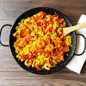 paella-chorizo-shrimps-peas-smoked paprika