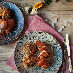 chicken-breast-with-prosciutto-thyme-and-cauliflower-meatballs-with-poppy-seeds-and-sesame