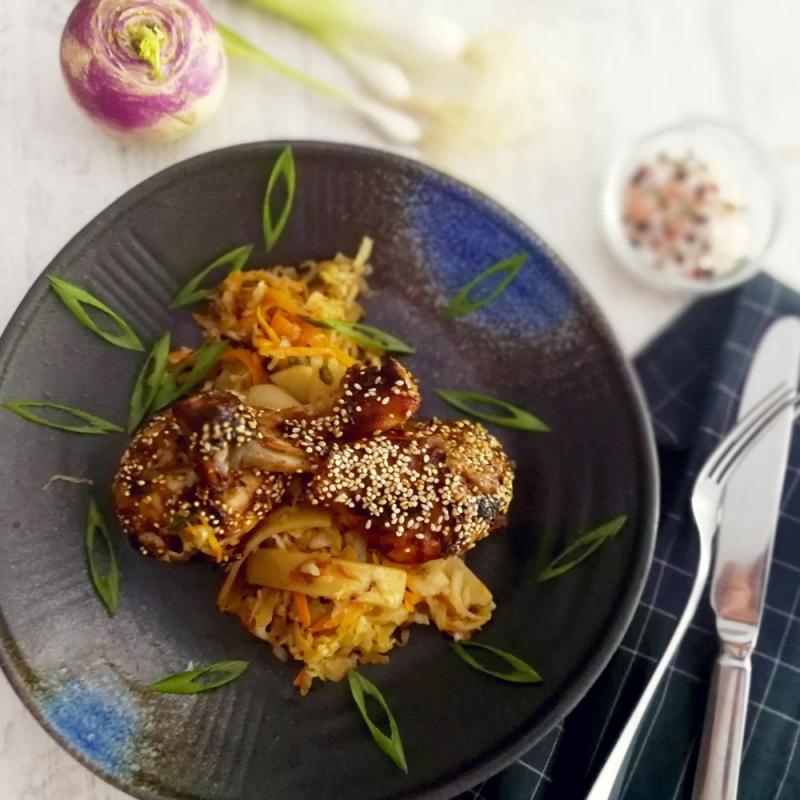 Пилешки бутчета в сладко-кисел сос с алабаш, зеле и бамбук в азиатски стил